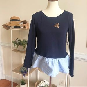 Crown & Ivy navy bee appliqué peplum Top
